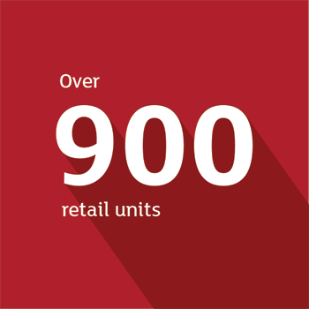 Over 900 retail units